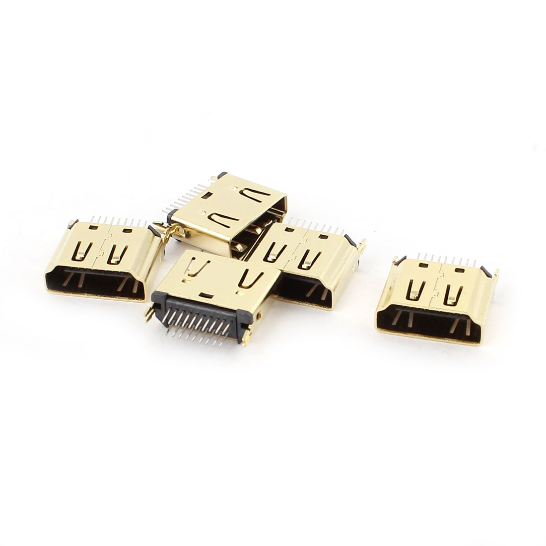 5Pcs Gold Tone Mini HDMI Female 19 Pins 4 Legs DIP Connectors