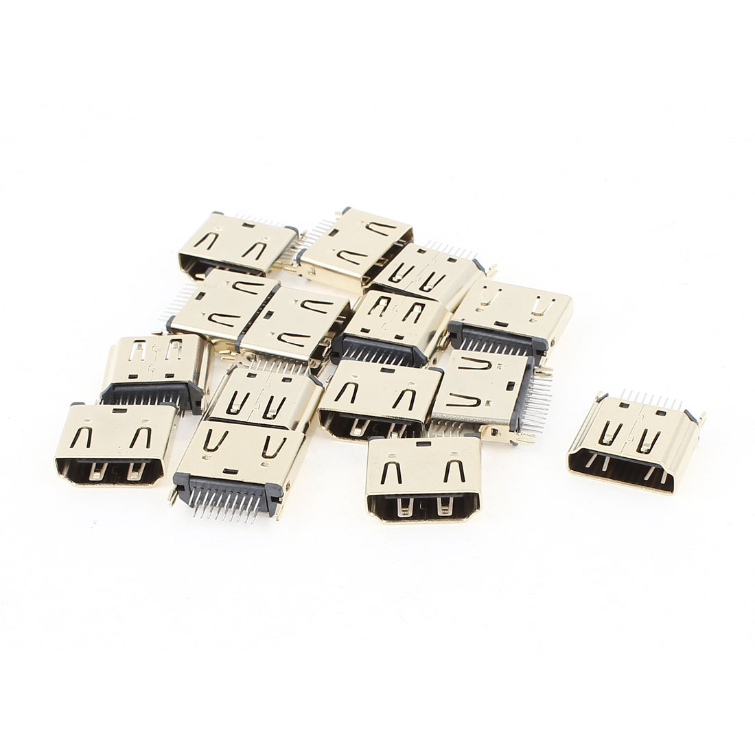 15pcs Gold Tone Mini 19Pin DIP HDMI Female Connector 180 Degree