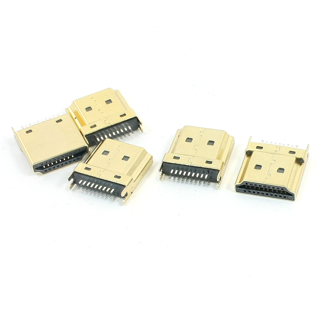 5Pcs 1.2mm Splint Gap Gold Tone Mini HDMI Male 19 Pins SMT DIP Connectors