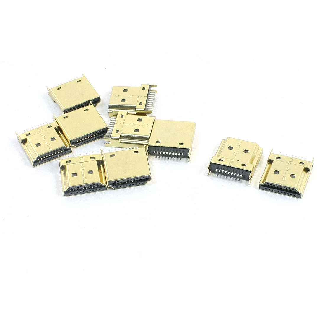 10Pcs Gold Tone 1.2mm Pitch Mini HDMI Female 19 Pins SMT DIP Connectors