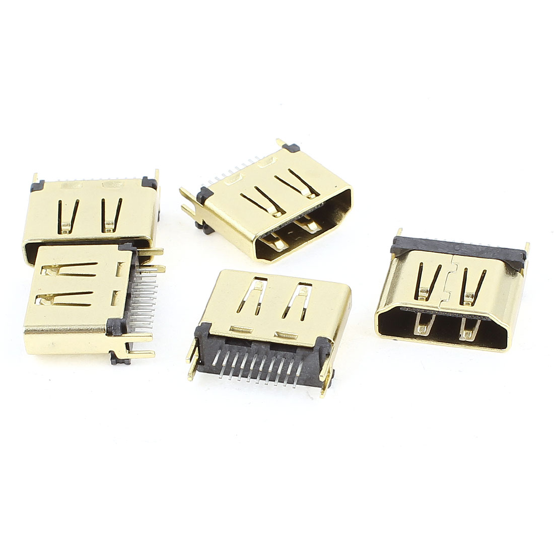 5pcs 1.6mm Spacing Gold Tone 19Pin HDMI Female Connector SMT 180 Degree