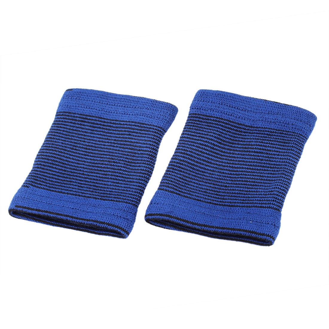 Sports Striped Stretchy Pullover Wrist Support Protectors Blue Pair