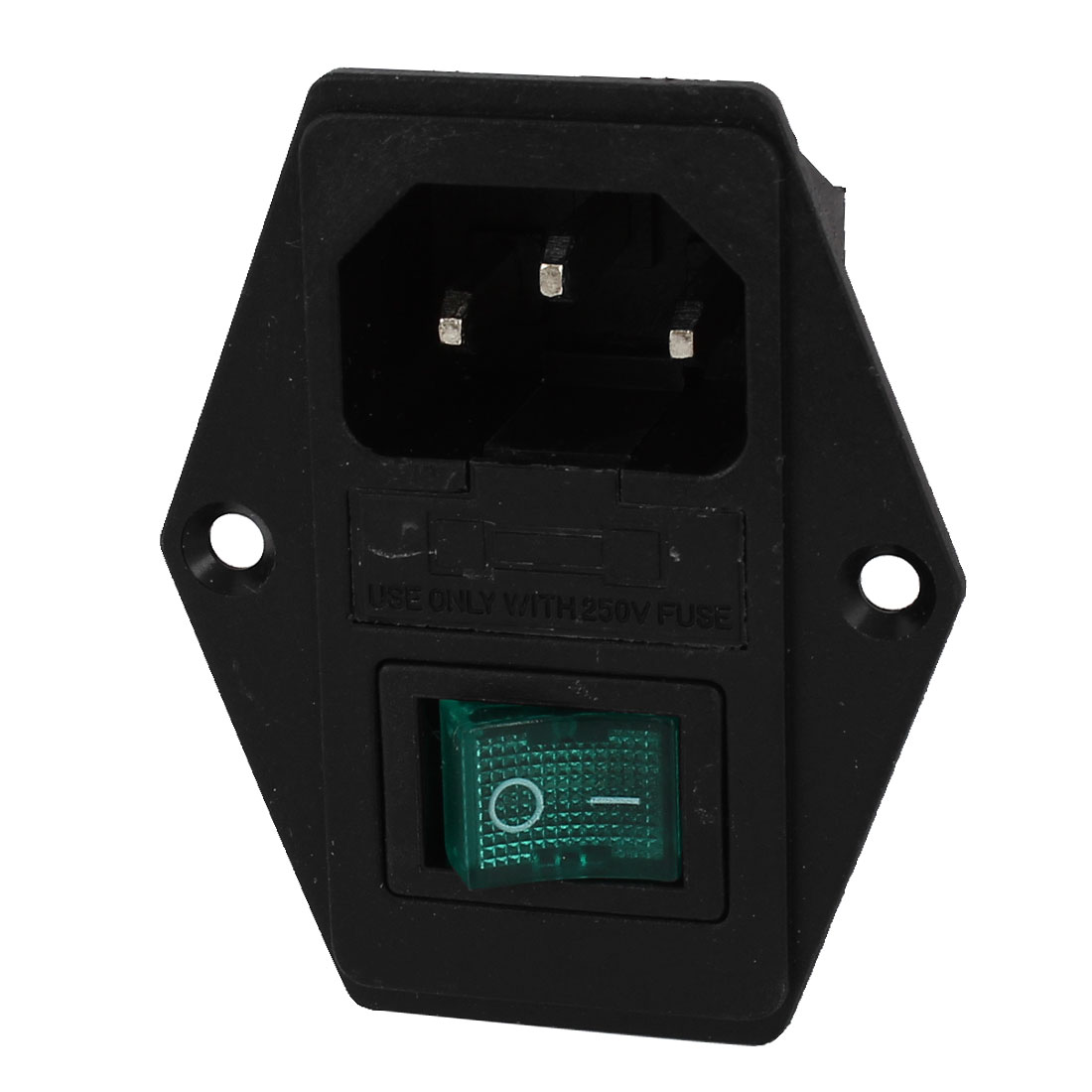AC 250V 15A Plastic Housing IEC320 C14 Inlet I/O Button Power Socket w Fuseholder