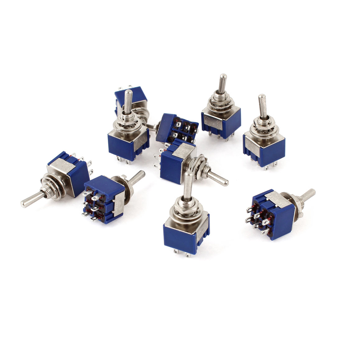 10 Pcs AC 125V 6A DPDT ON-ON 2 Position Locking 6 Pin Toggle Switch Replacement