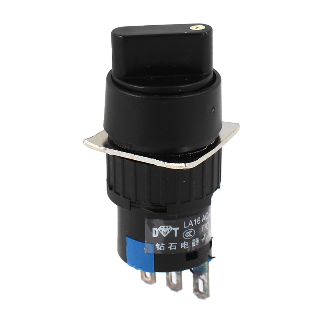 AC250V 3A DC30V 5A Blue Head 3 Terminal SPDT Momentary Rotary Selector Push Button Switch