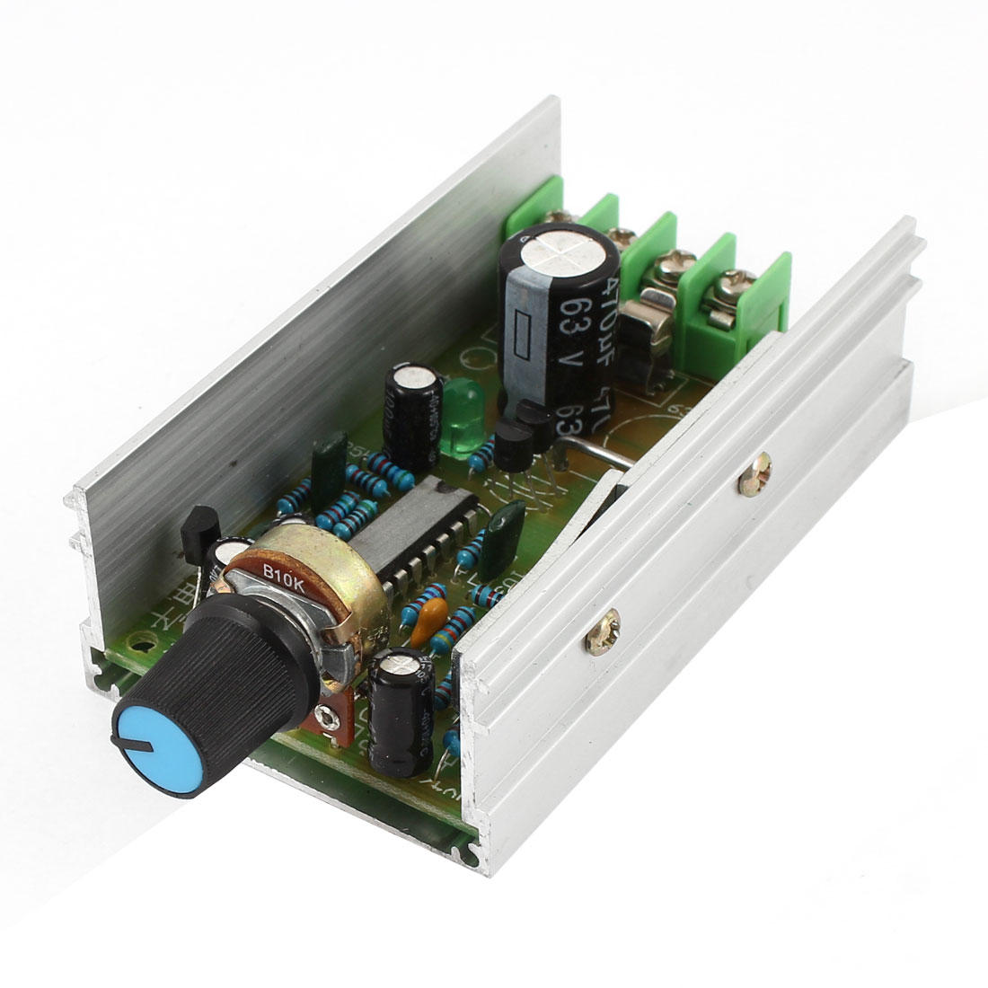 Silver Tone Alloy Housing DC 12-60V 10A PWM Electic Motor Speed Controller