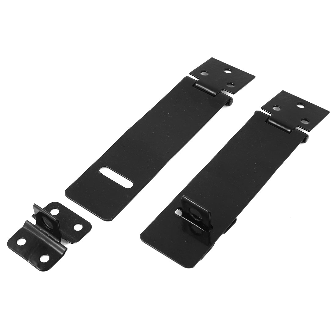 Black Metal Rectangle Gates Door Mate Latch Hasp Staple 11.8cm 2 Sets