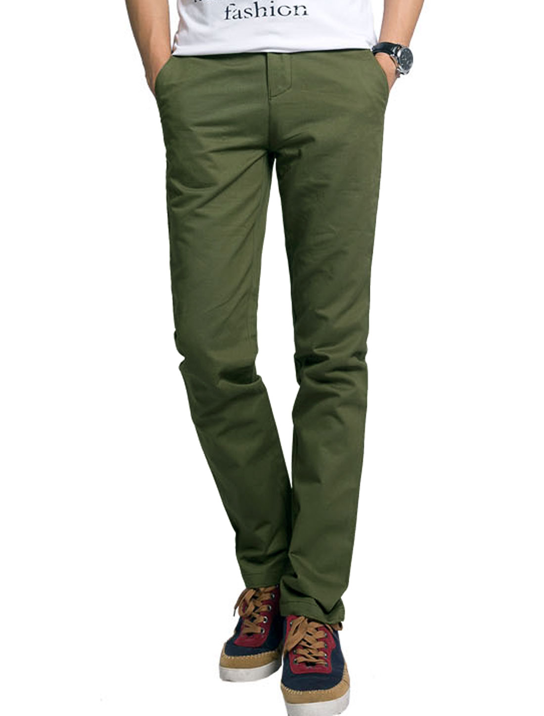 Men Natural Waist One Hip Pocket Decor Leisure Summer Pants Army Green W32