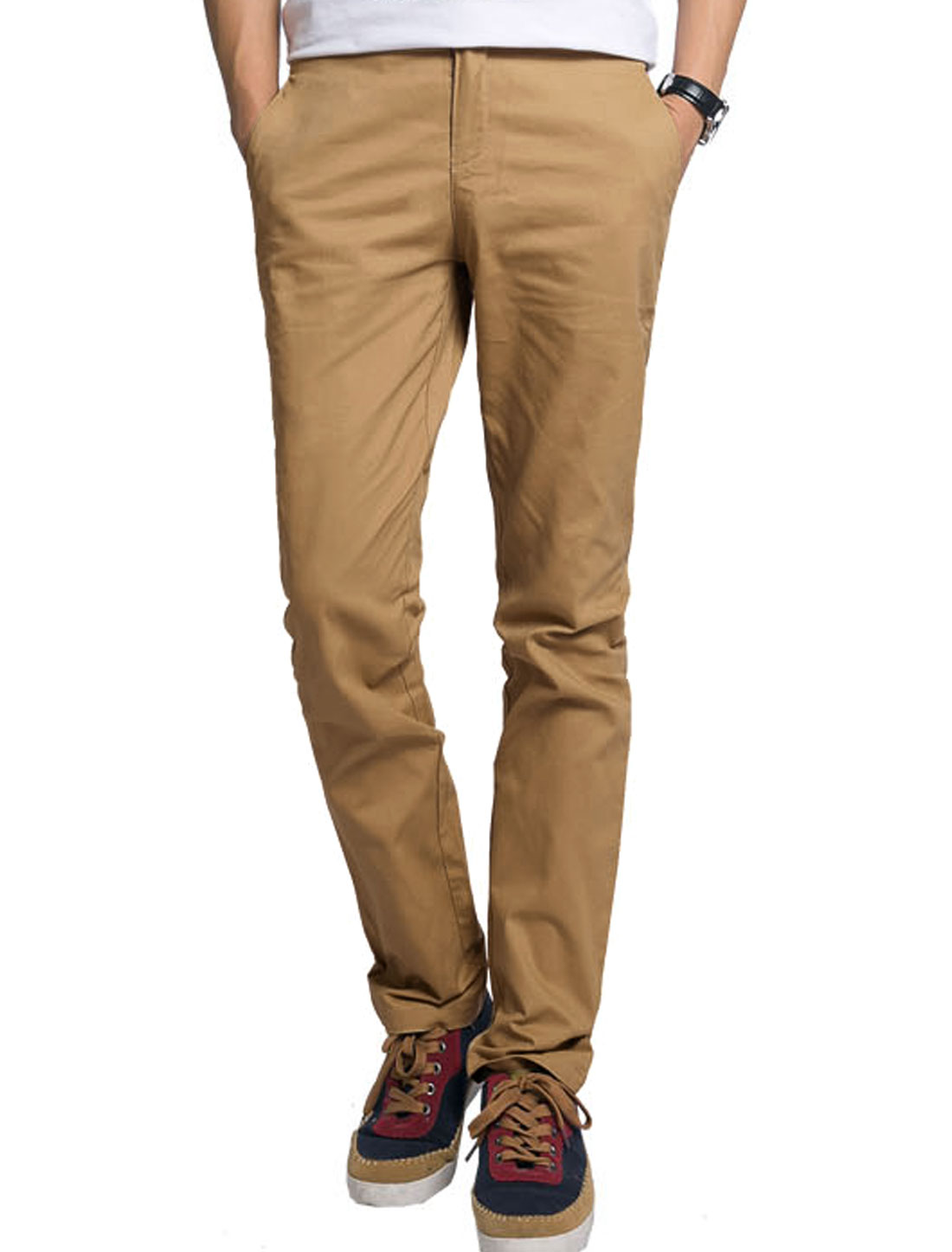 Men Zip-Up Fastening Slant Front Pockets Casual Trousers Khaki W38
