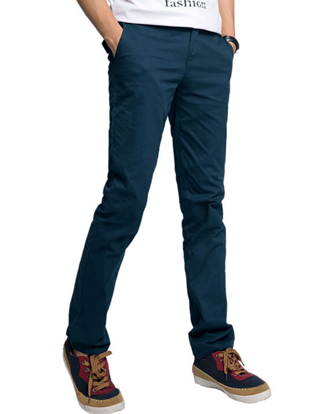 Men Zip Up Closure Back Pocket Decor Leisure Slim Pants Navy Blue W40