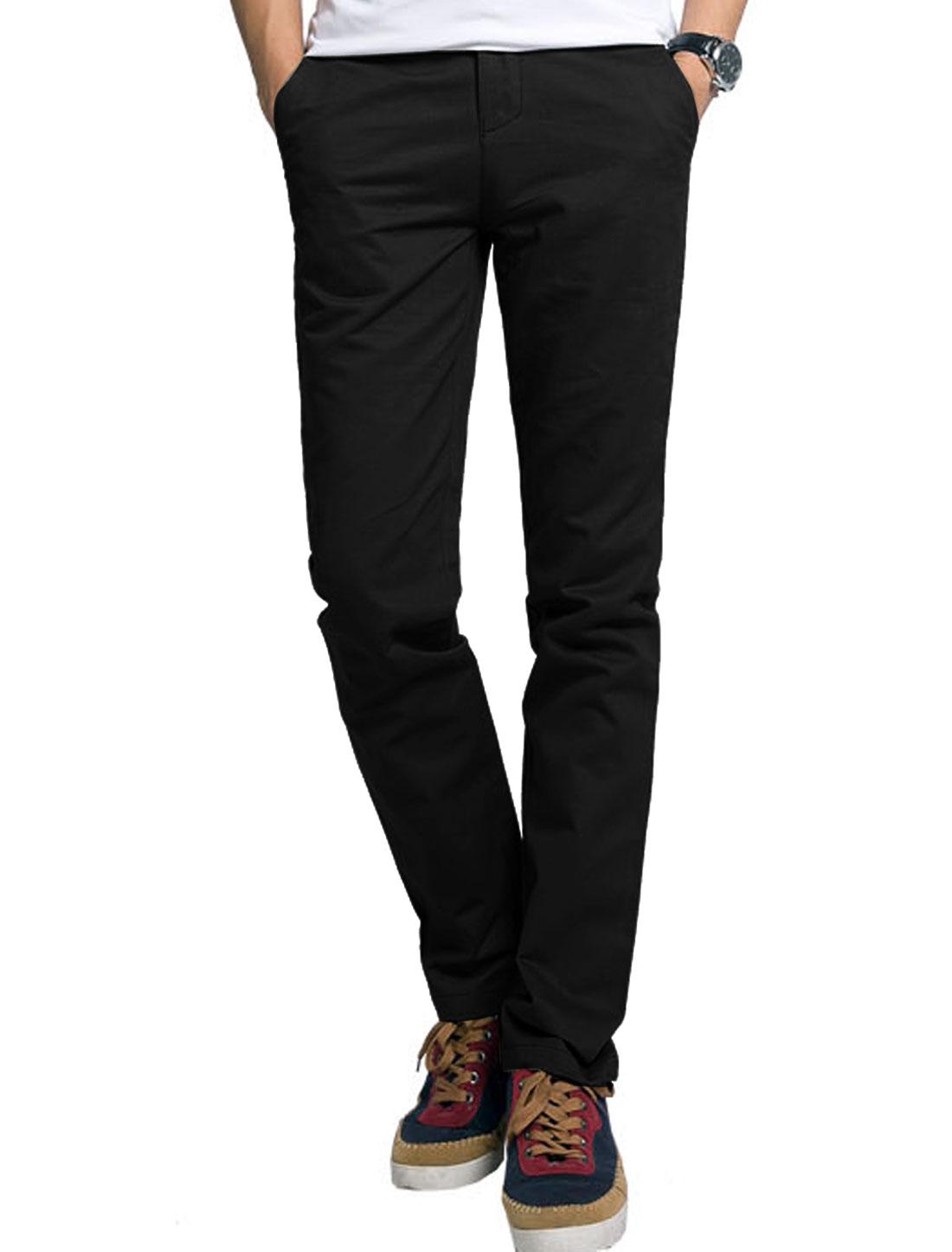 Men Side Pockets Back Pocket Decor Leisure Slim Pants Black W40