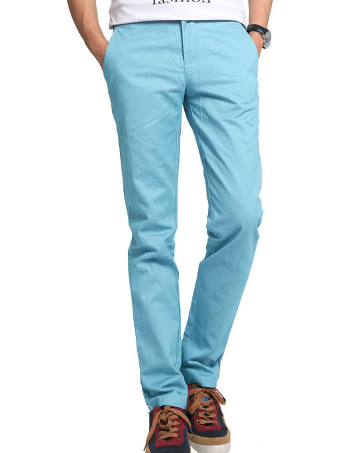 Men Zip Up Closed Flap Pocket Decor Leisure Slim Pants Light Blue W40