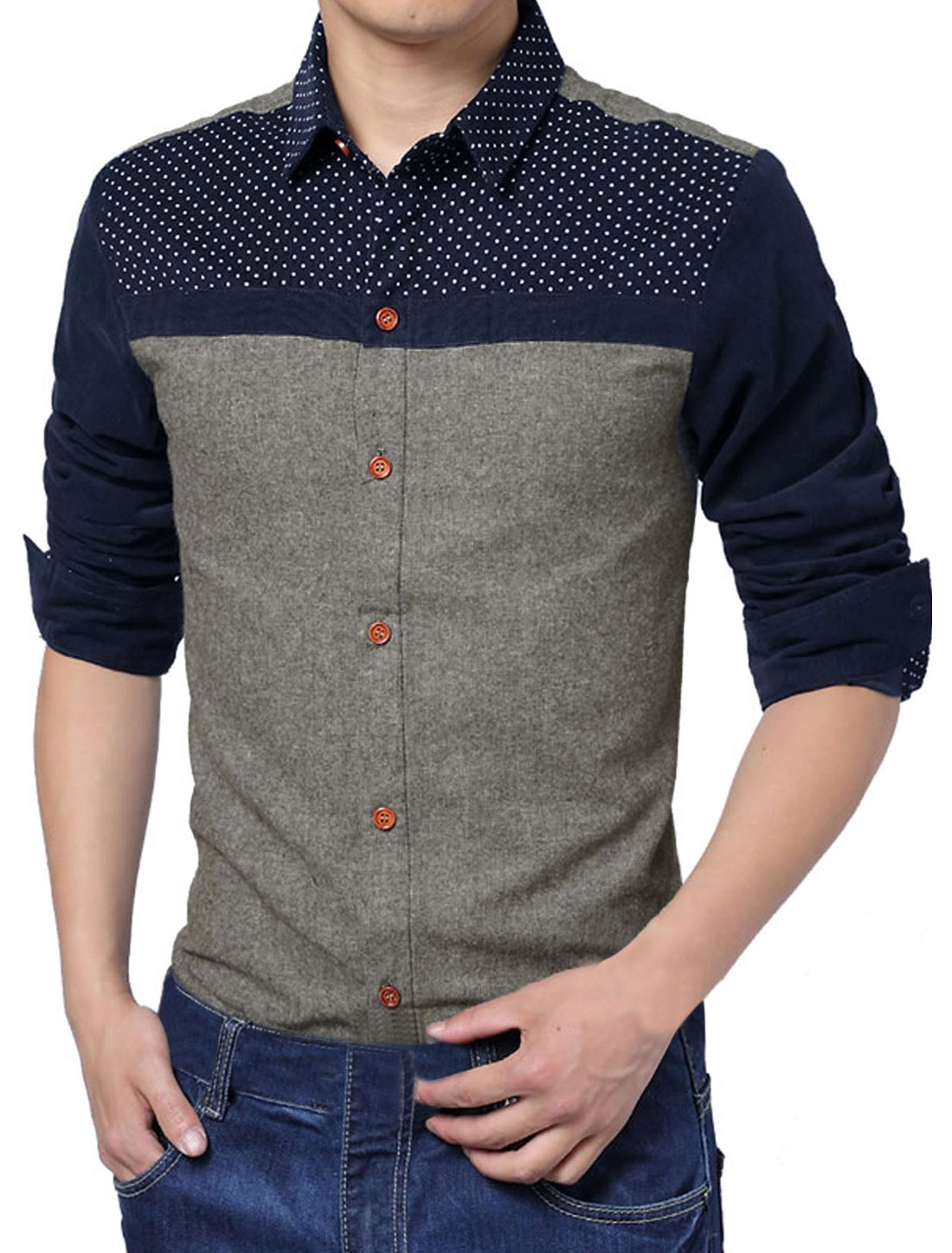 Men Cozy Slim Fit Dots Prints Corduroy Splicing Shirt Light Coffee M