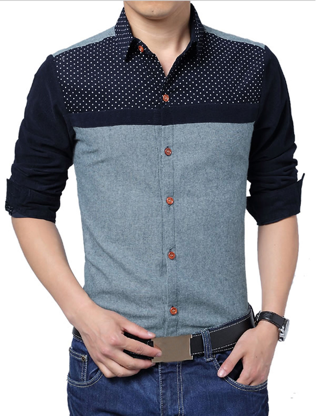 Men Cozy Slim Fit Point Collar Corduroy Splicing Shirt Light Blue M