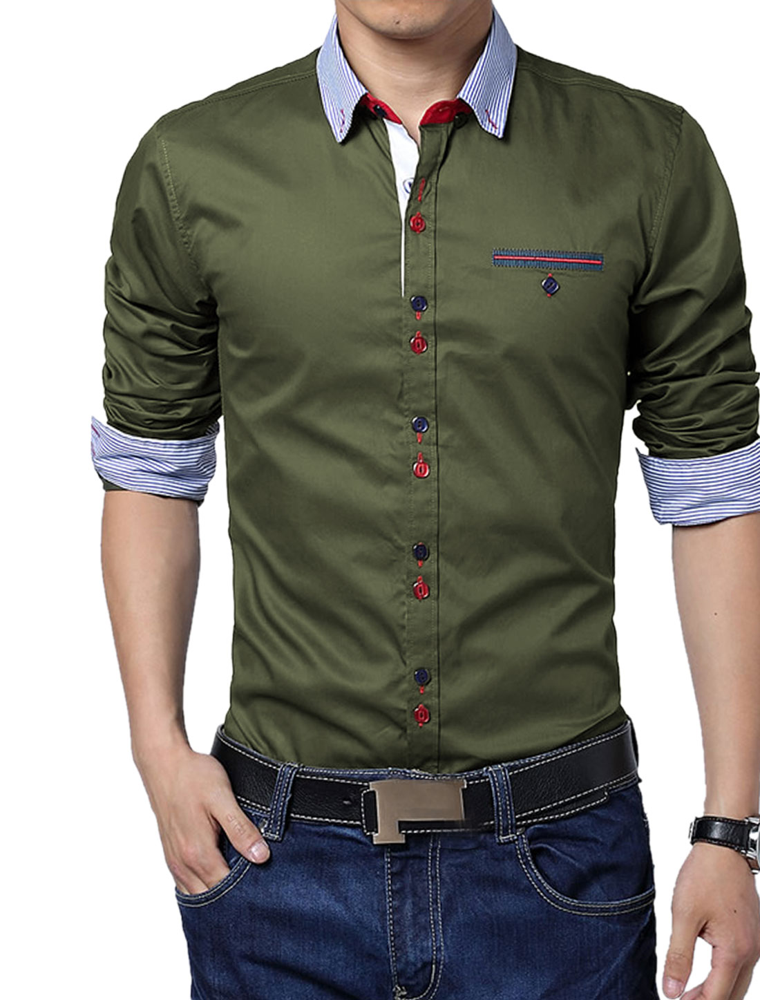 Men Stripes Pattern Embroidery Detail Slim Fit Button Down Top Shirt Army Green L