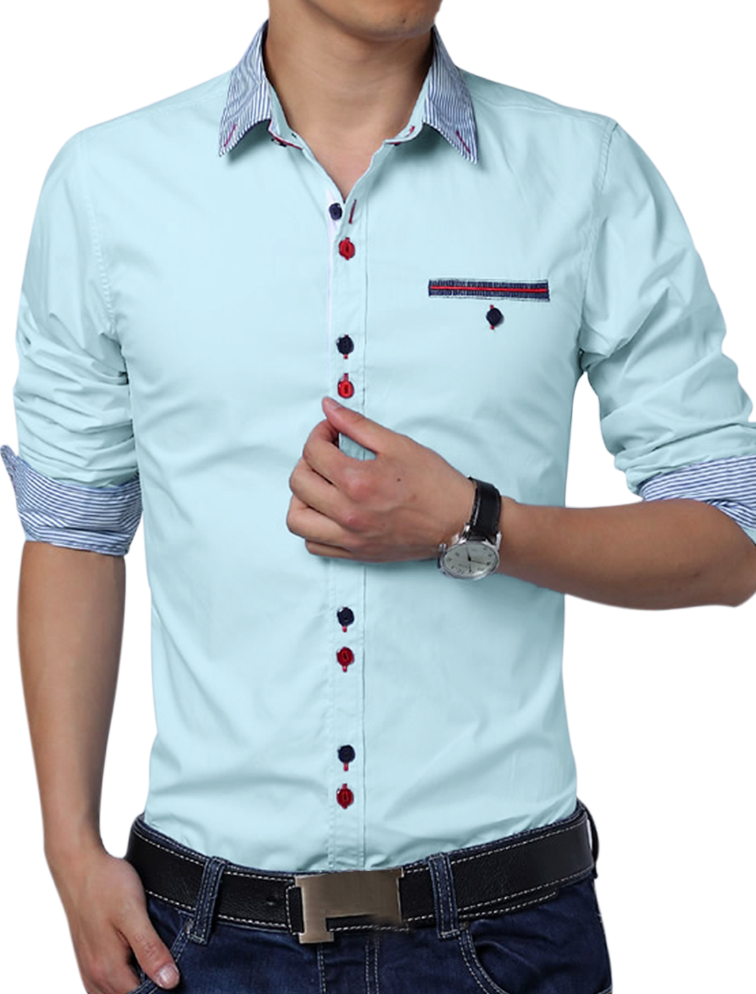 Men Round Hem Embroidery Detail Button Down Top Shirt Baby Blue L