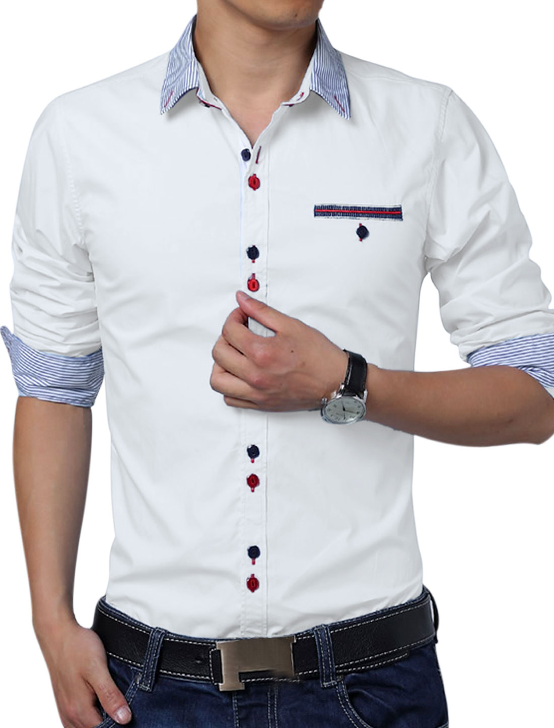 Men Single Breasted Embroidery Detail Button Down Top Shirt White L