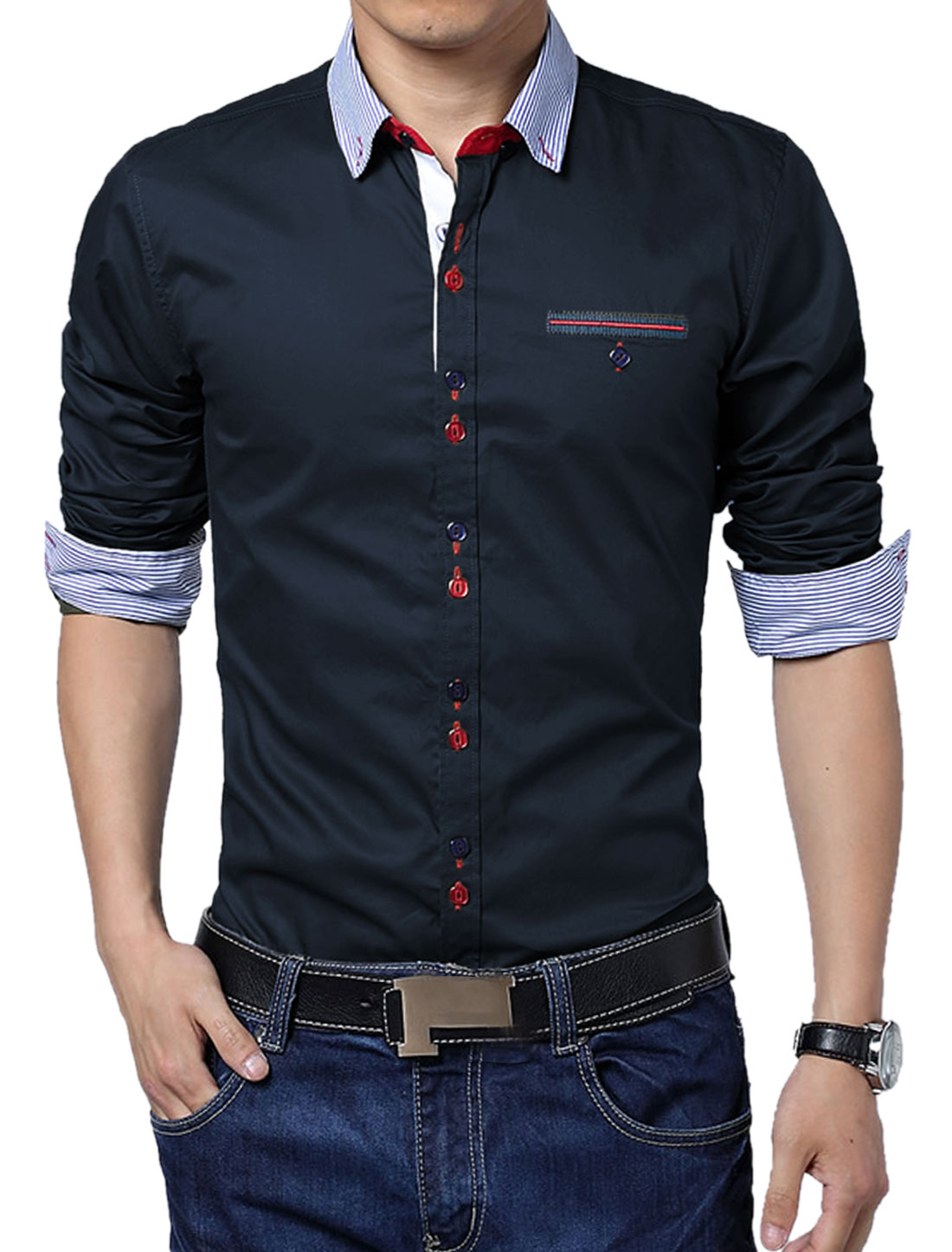 Men Button-Up Stripes Pattern Slim Fit Top Shirt Navy Blue L