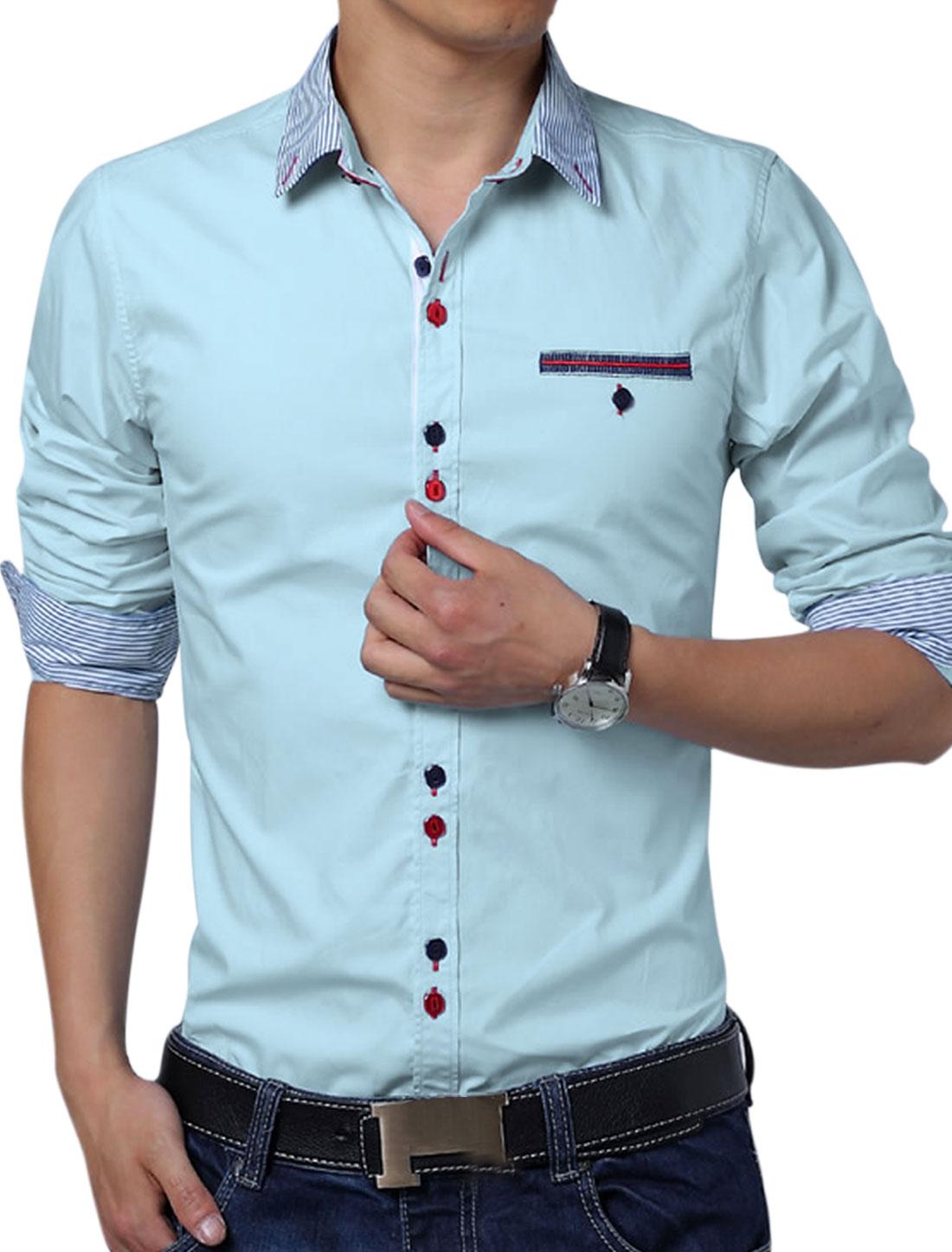 Men Round Hem Panel Design NEW Trendy Top Shirt Baby Blue L