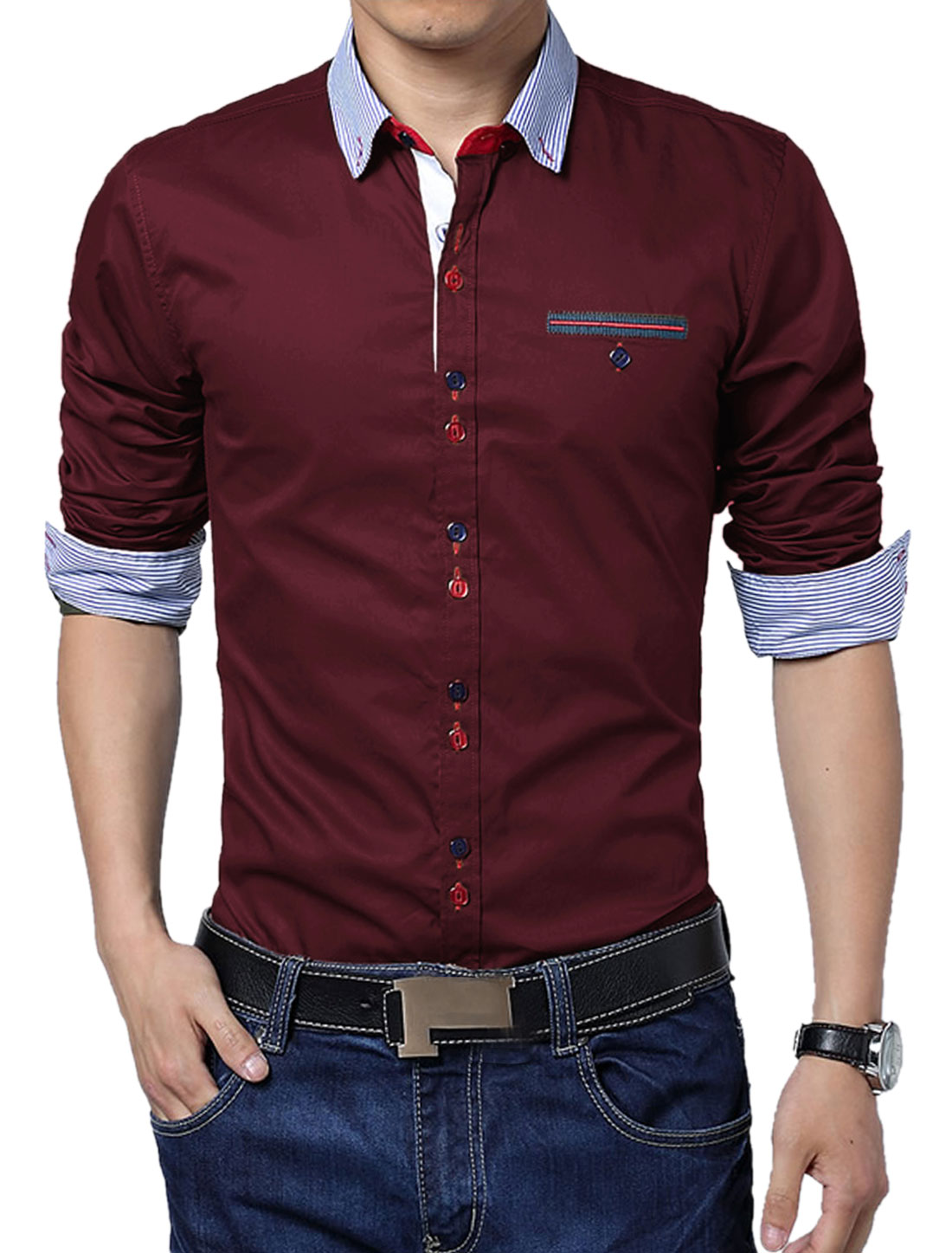 Men Embroidery Detail Panel Stripes NEW Trendy Top Shirt Burgundy L