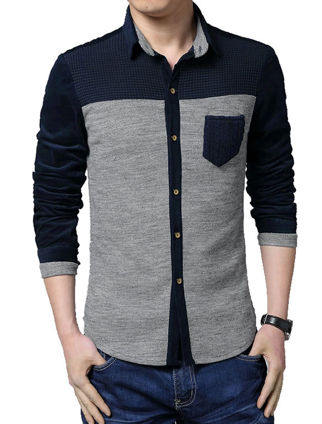 Men Contrast Color Button Cuffs Single Breasted Knit Shirt Light Gray M