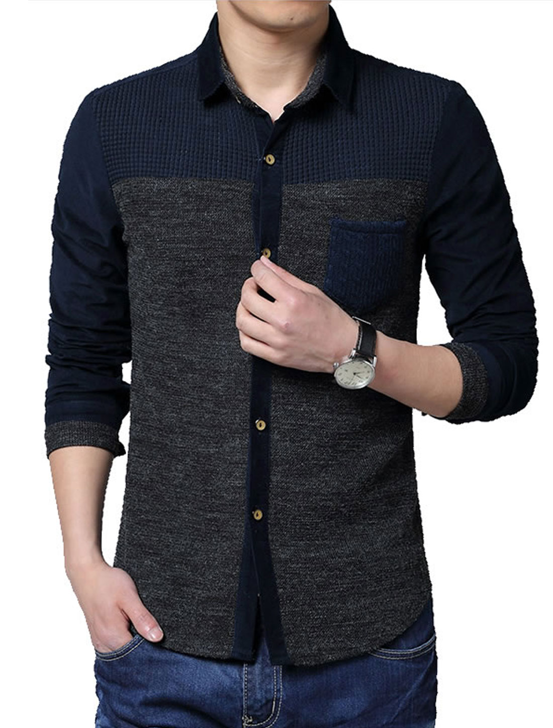 Men Long Sleeve One Chest Pocket Single Breasted Knit Shirt Dark Gray M