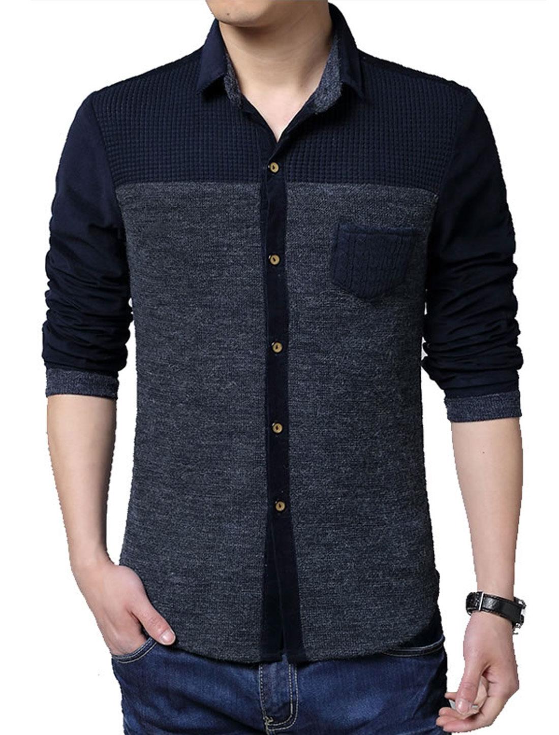 Men Point Collar One Chest Pocket Round Hem Knit Shirt Navy Blue L