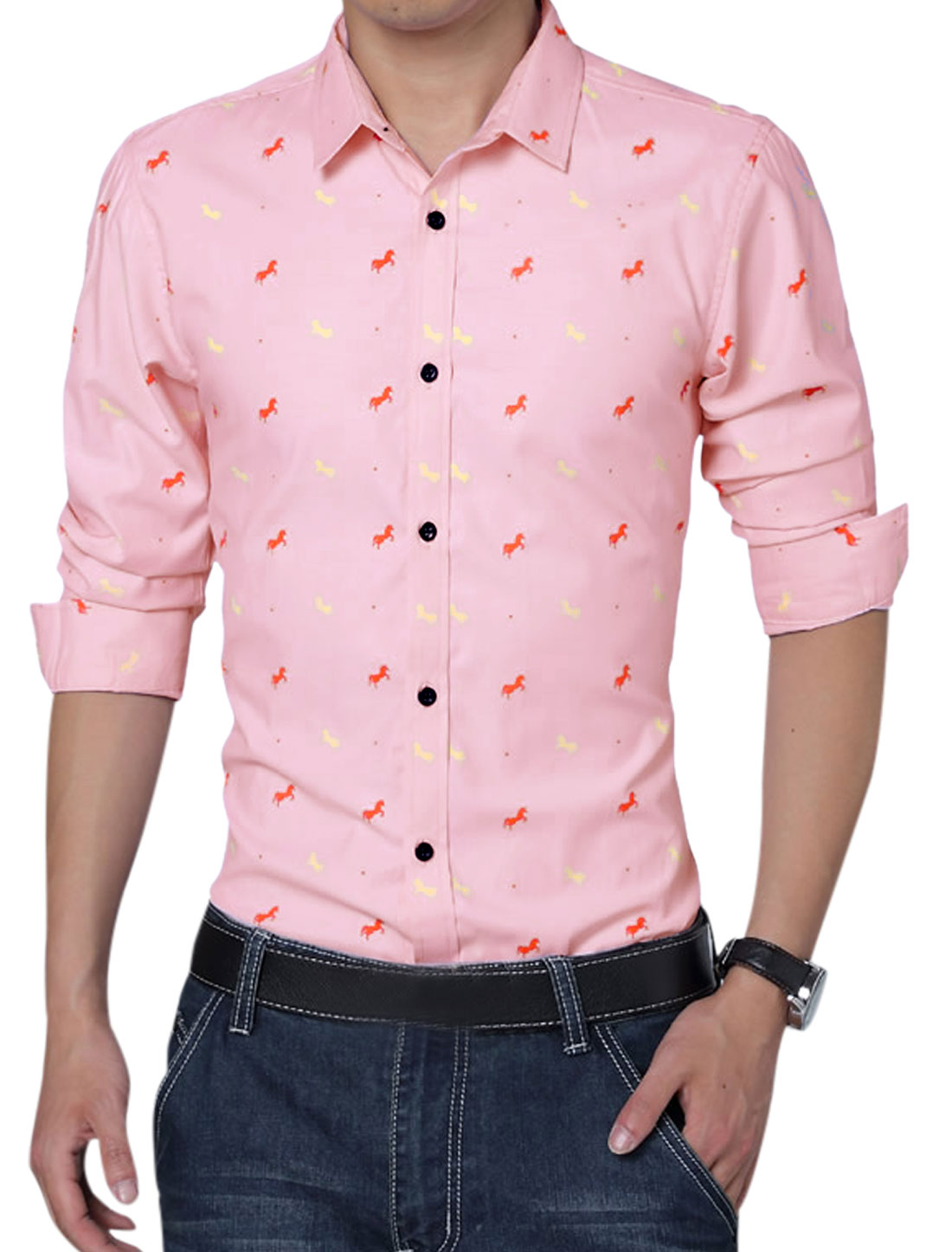 Men Horses Pattern Button Closure Front Round Hem Casual Shirt Pink L