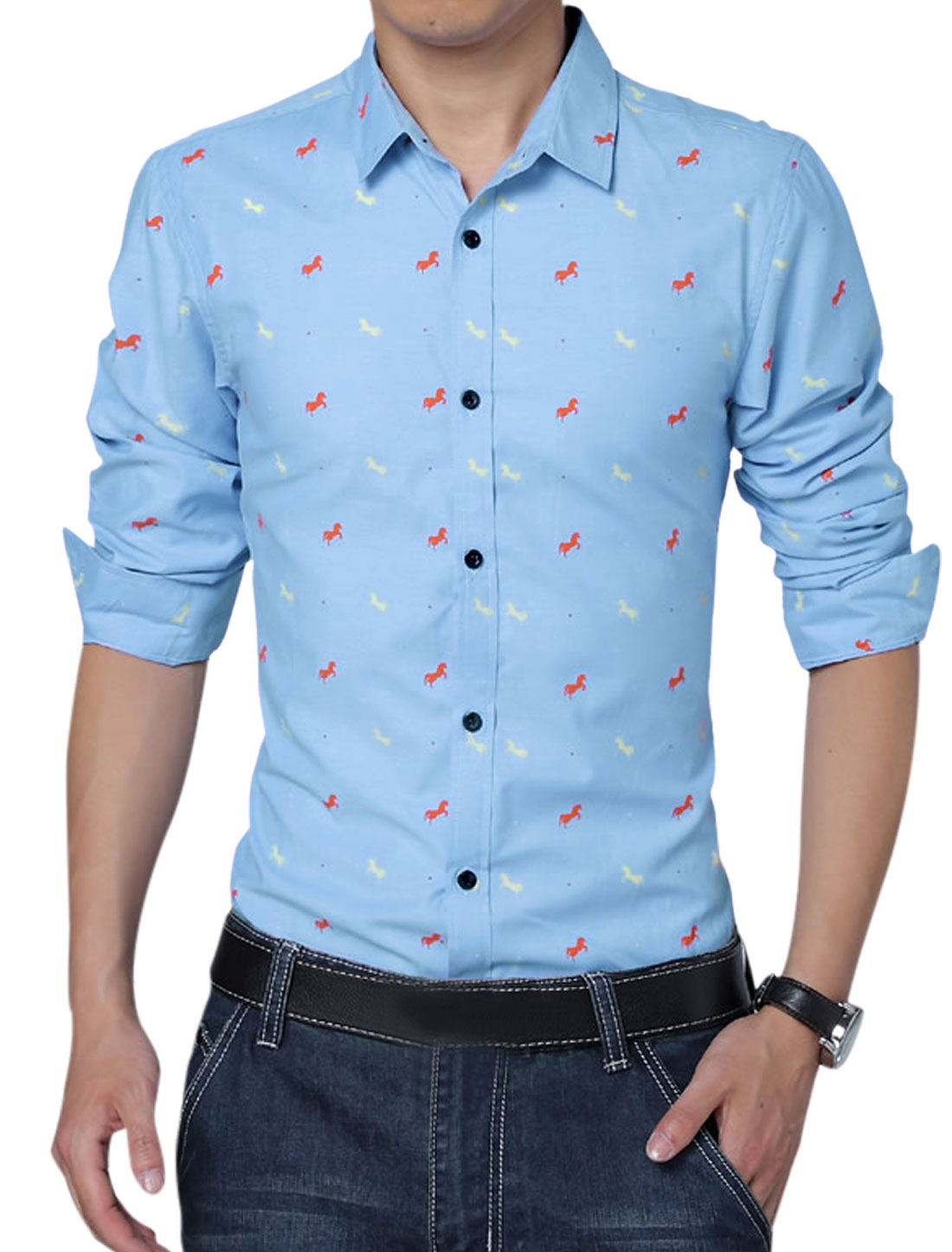 Men Casual Horses Pattern Round Hem Double Button Cuffs Shirt Blue L