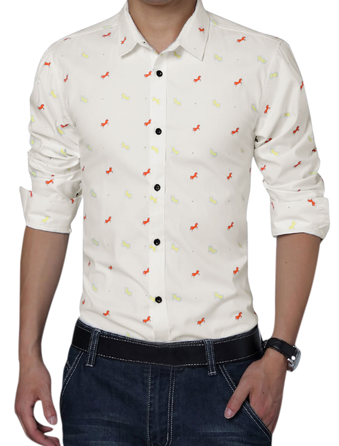 Men Button Closure Front Horses Pattern Long Sleeve Shirt White L
