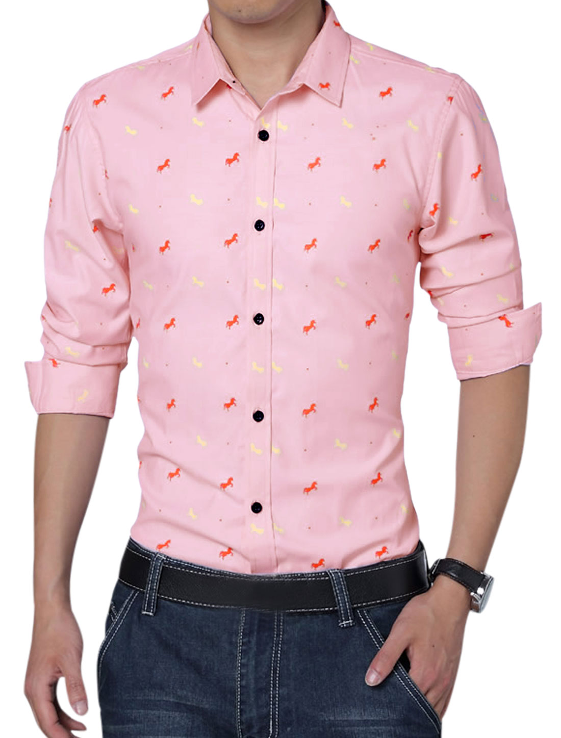 Men Double Button Cuffs Horses Pattern New Style Casual Shirt Pink L