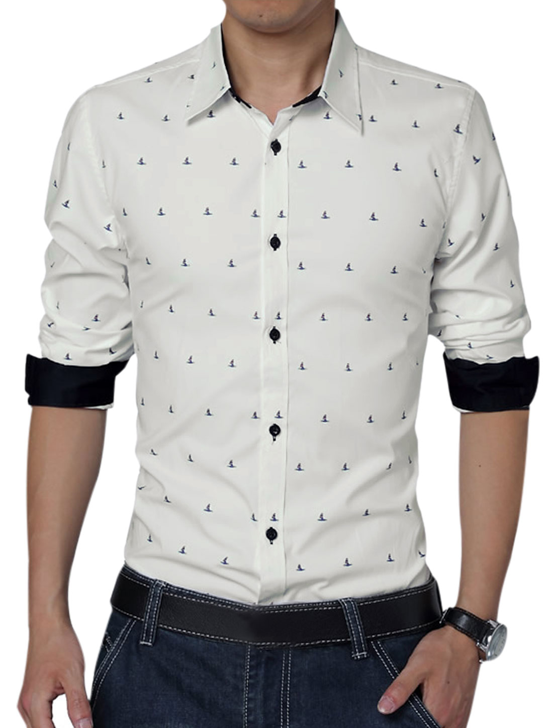 Men Long Sleeve Single Breasted Novelty Prints Leisure Shirt White L