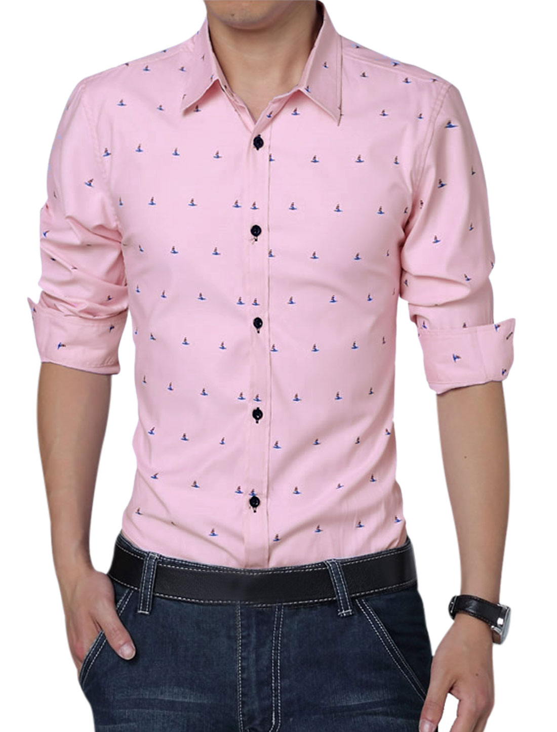 Men Long Sleeve Button Down Novelty Prints Leisure Shirt Pink L