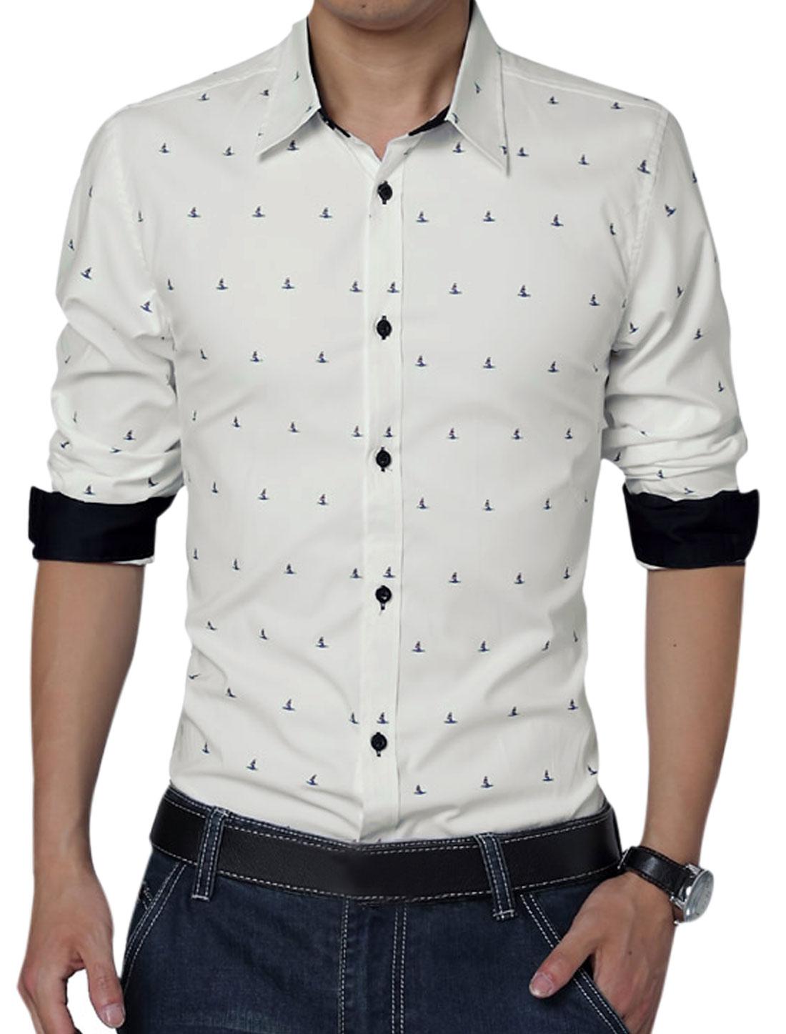 Men Long Sleeve Button Front Novelty Prints Leisure Shirt White L