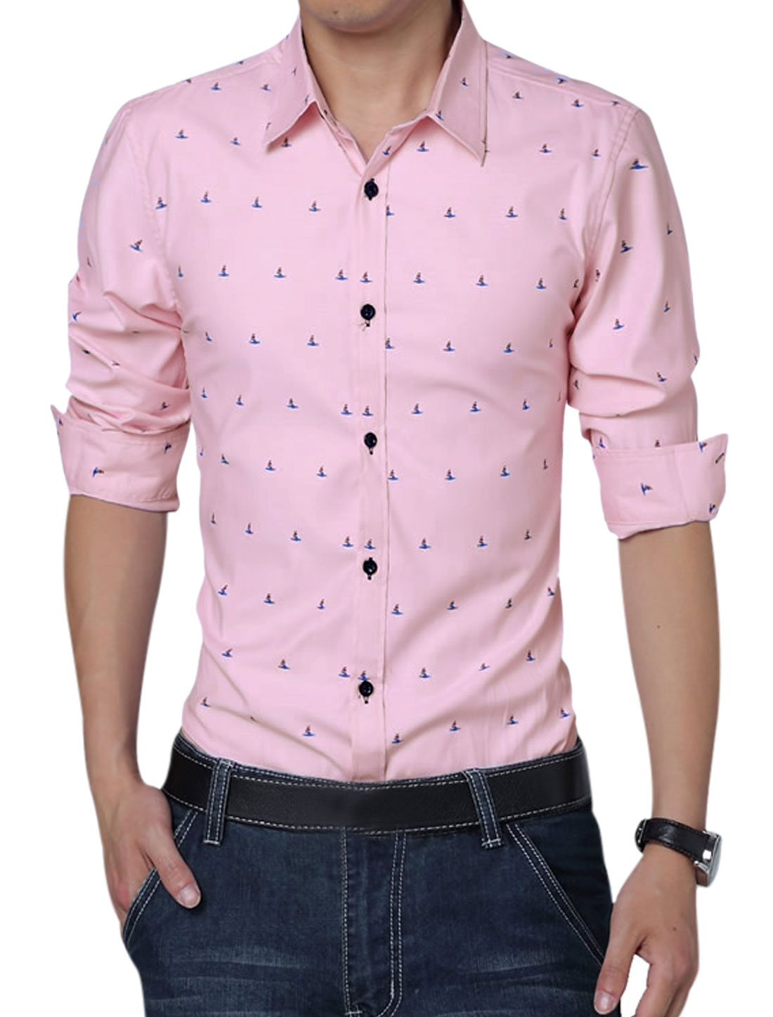 Men Long Sleeve Button Closure Novelty Pirnts Leisure Shirt Pink L