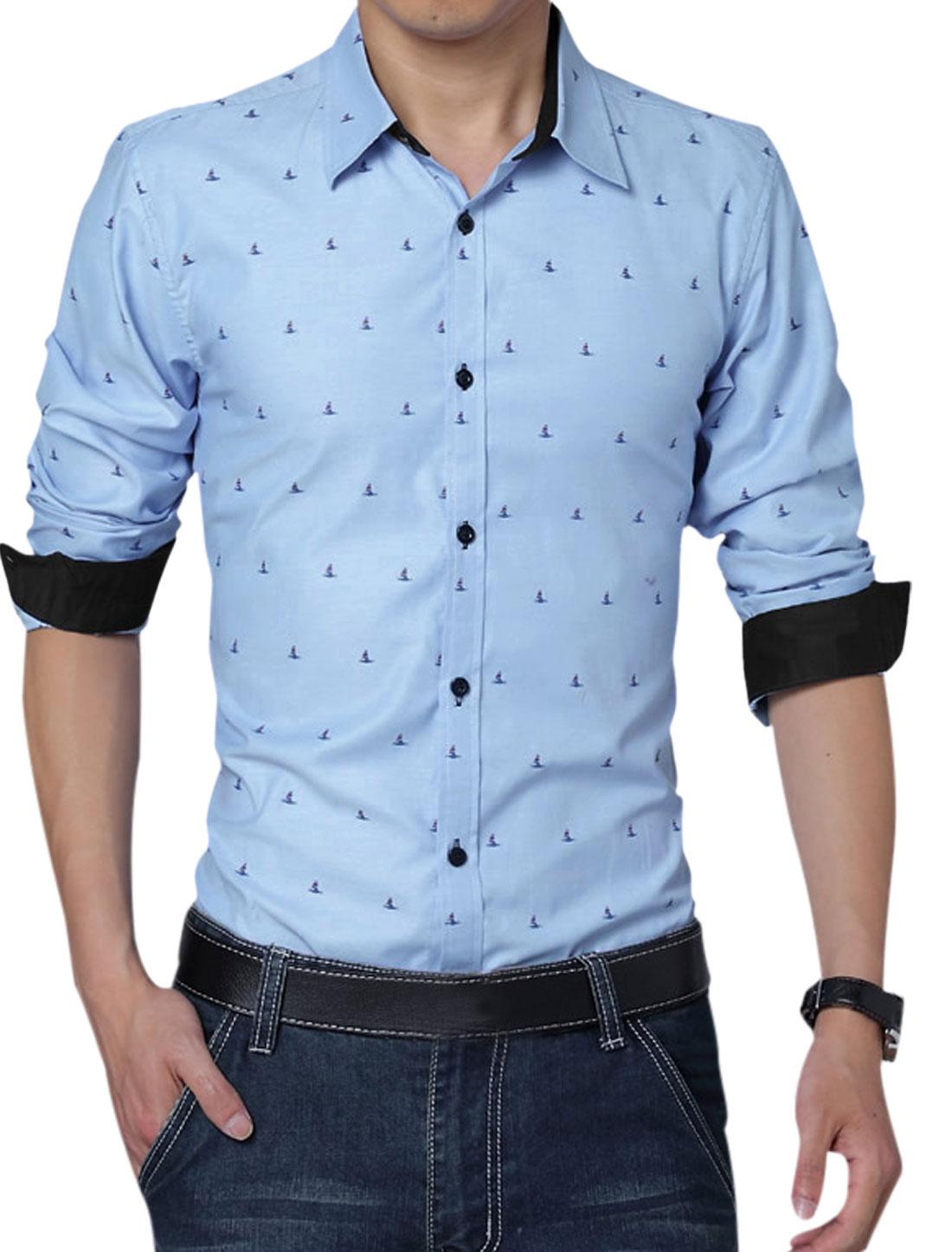 Men Long Sleeve Button Up Novelty Prints Leisure Shirt Sky Blue L