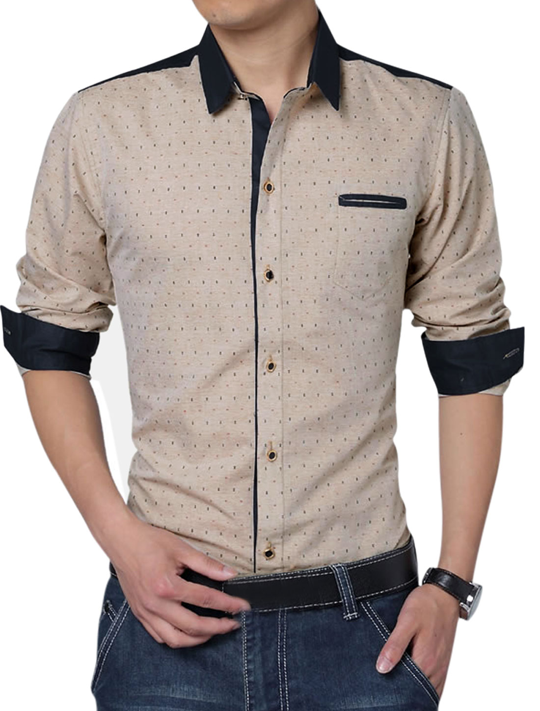 Men Long Sleeve Single Breasted Anchor Pirnts Gentleman Shirt Khaki L