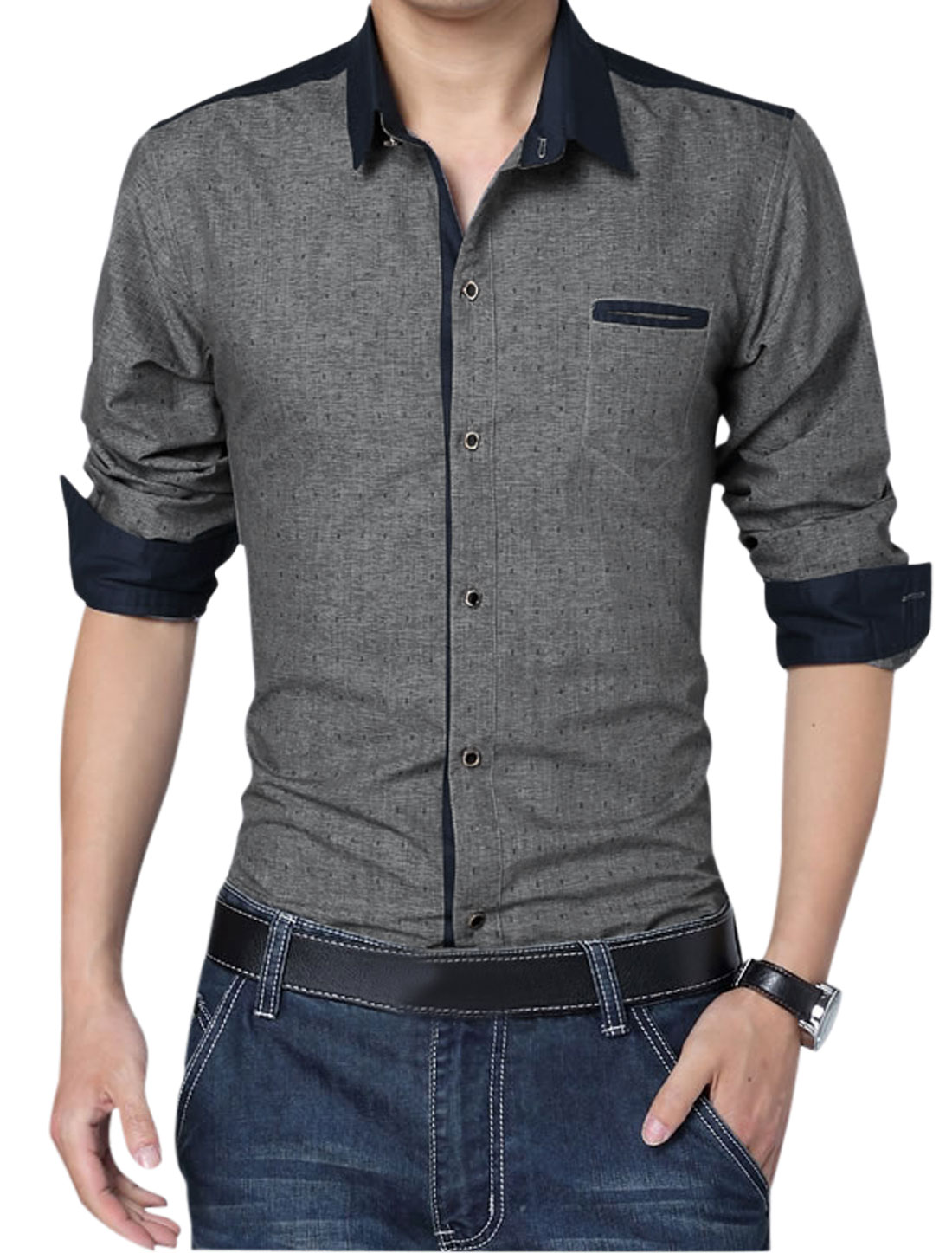 Men Point Collar Single Breasted Anchor Pirnts Leisure Shirt Dark Gray L