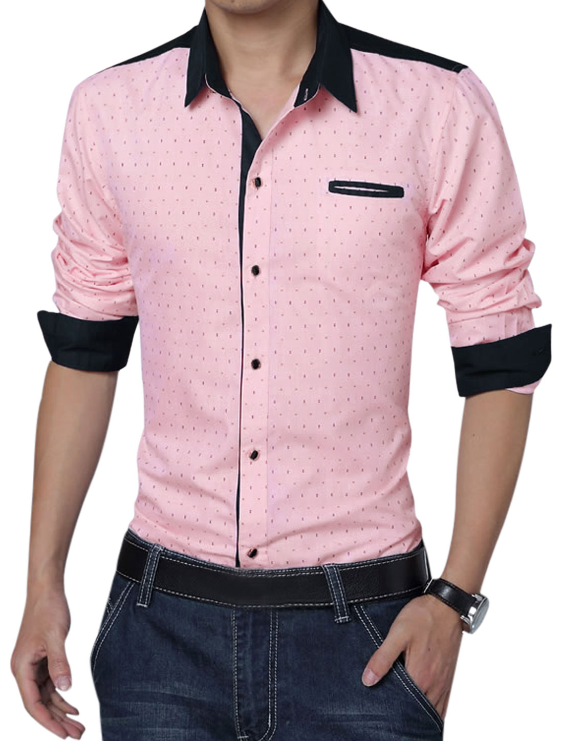 Men Long Sleeve Button Front Anchor Pirnts Leisure Shirt Pink L