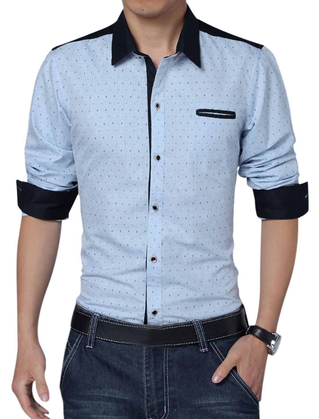 Men Long Sleeve Button Down Anchor Pirnts Leisure Shirt Sky Blue L