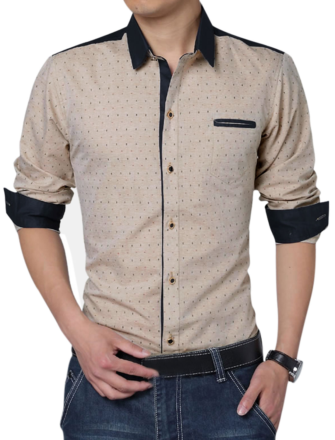 Men Long Sleeve Single Breasted All-over Anchor Pirnts Stylish Shirt Khaki L