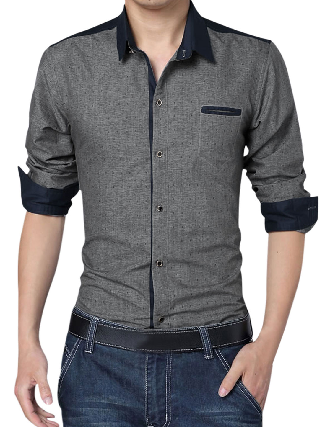 Men Long Sleeve Button Closure Anchor Pirnts Leisure Shirt Dark Gray L
