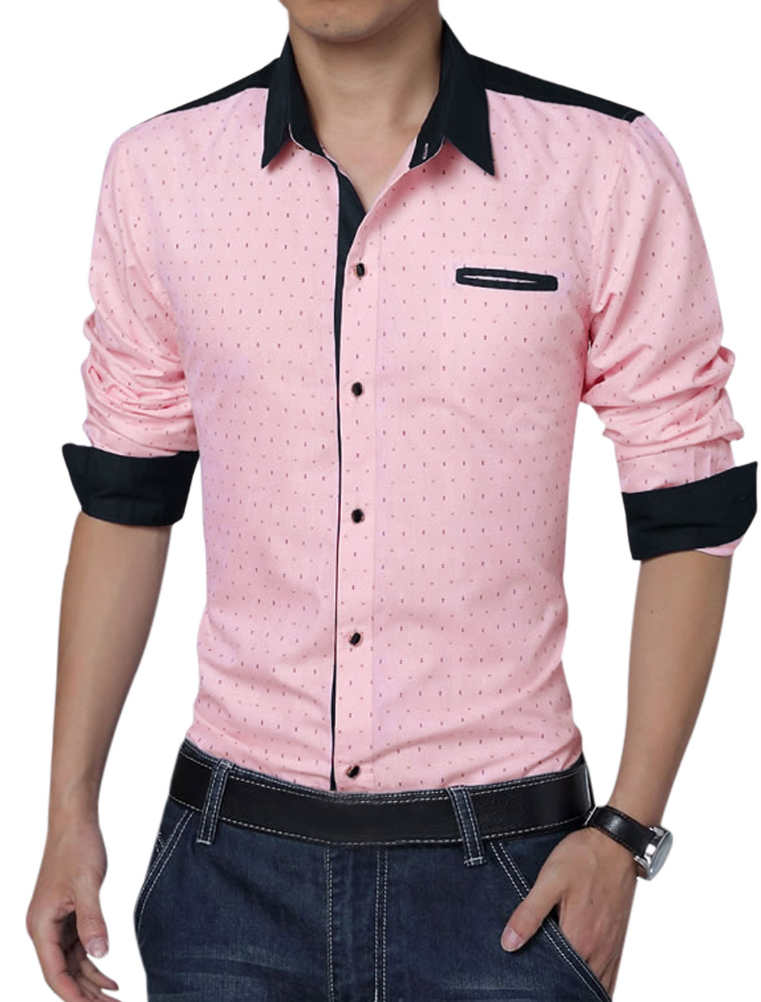 Men Long Sleeve Single Breasted Anchor Pirnts Leisure Shirt Pink L