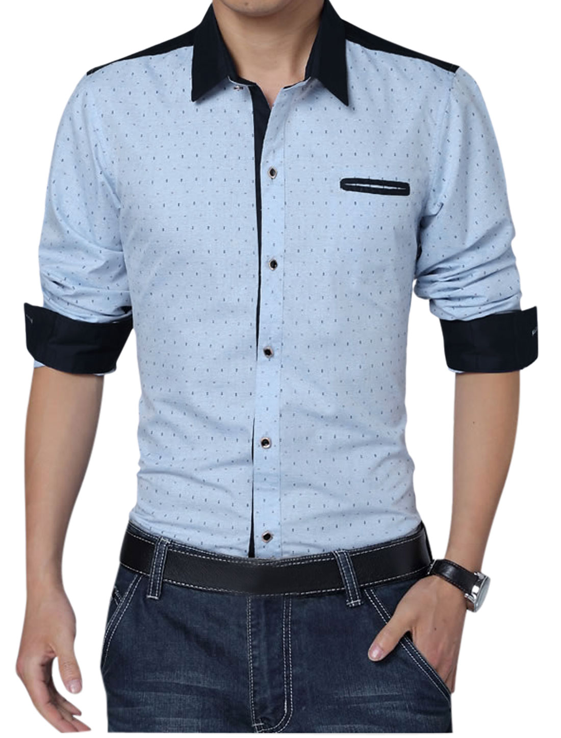 Men Fake Welt Chest Pocket Single Breasted Anchor Pirnts Shirt Sky Blue L