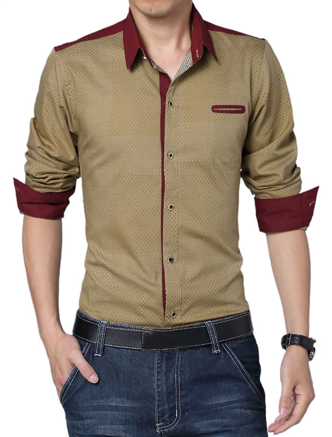 Men Long Sleeve Button Down Embroidery Design Leisure Shirt Khaki L
