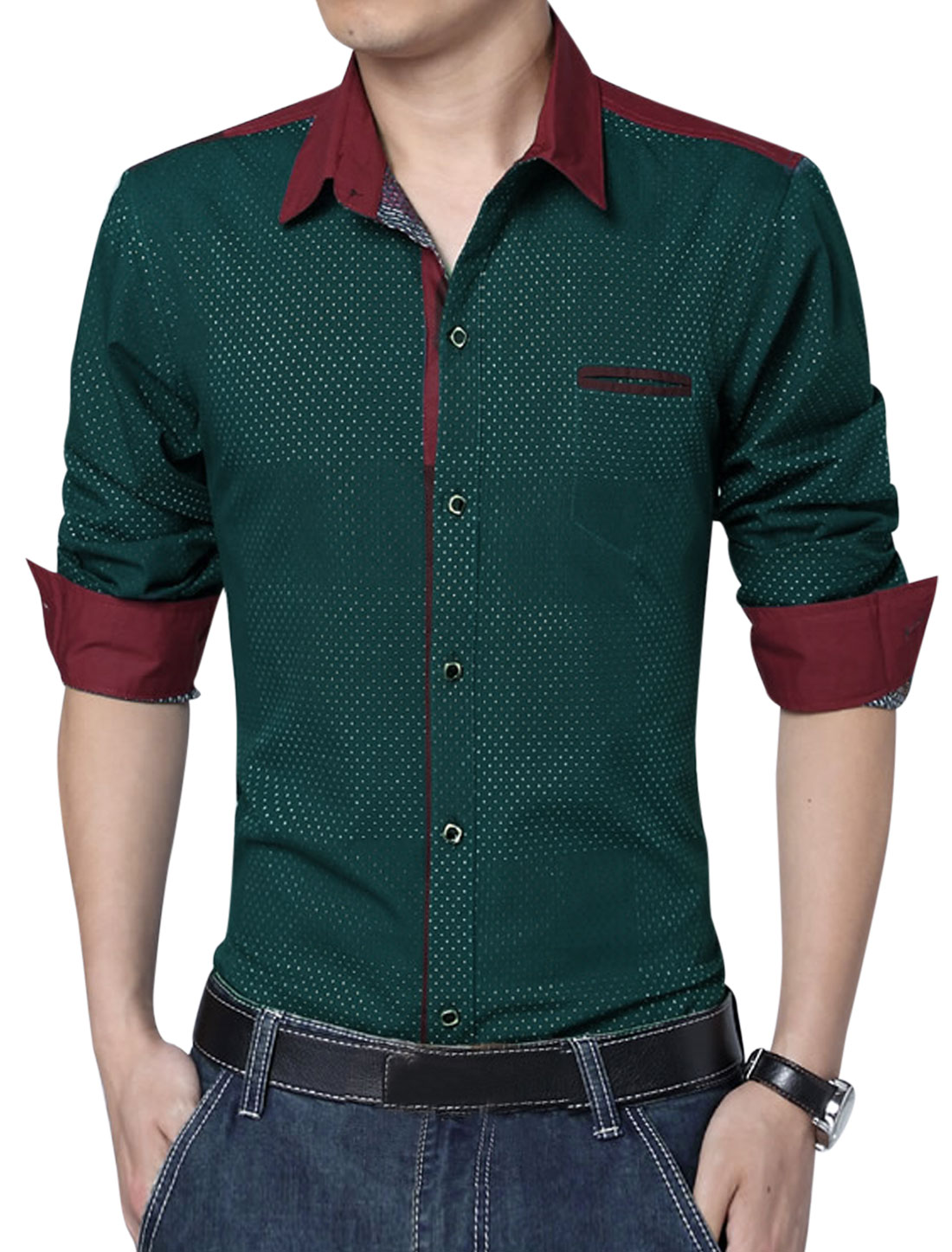 Men Long Sleeve Single Breasted Embroidery Design Leisure Shirt Dusty Green L