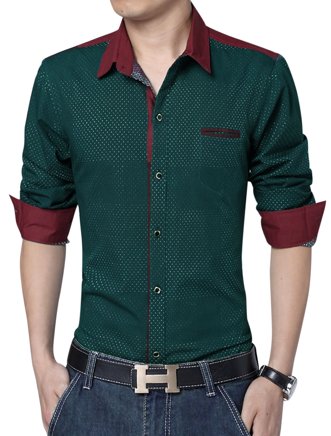 Men Single Breasted Embroidery Design Gentleman Shirt Dusty Green L