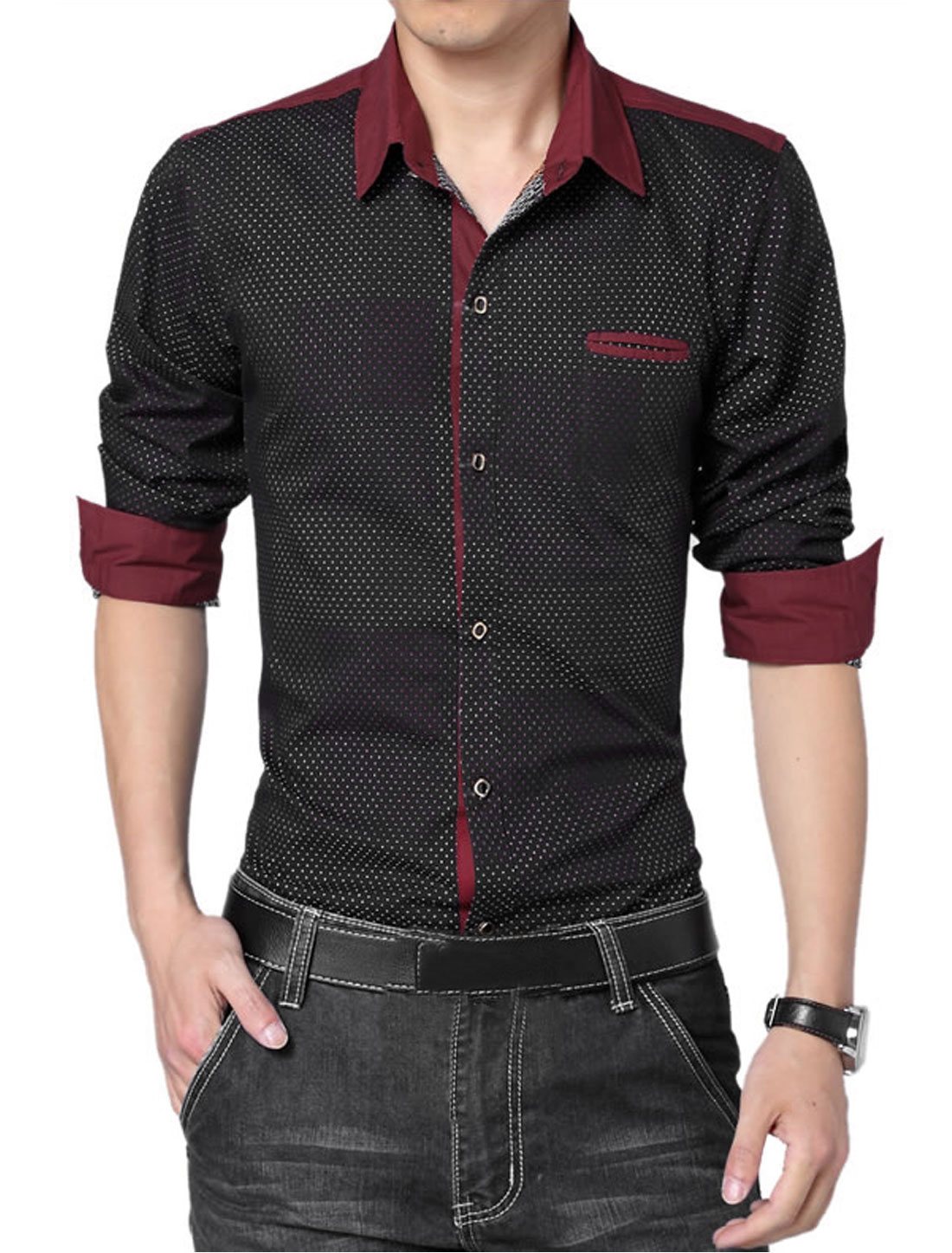 Men Stylish Single Breasted Embroidery Design Leisure Shirt Black L