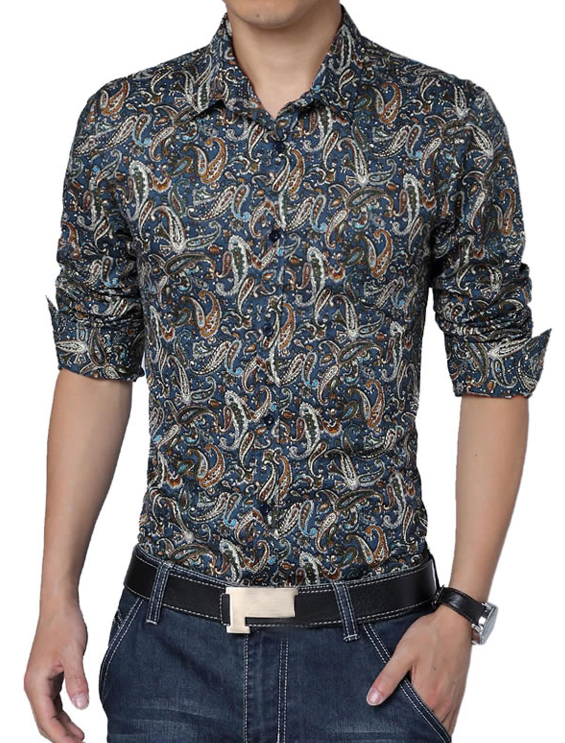 Men Long Sleeve Button Closure Front Paisleys Casual Shirt Navy Blue M