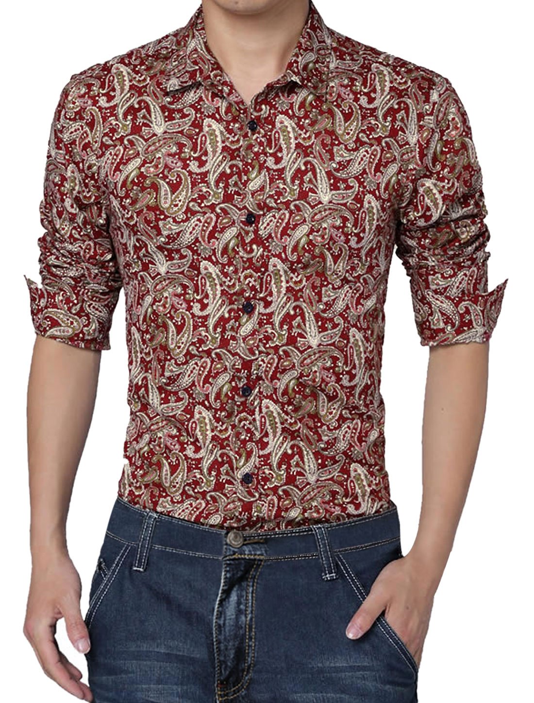 Men Long Sleeve Paisleys Round Hem Casual Shirt Burgundy L